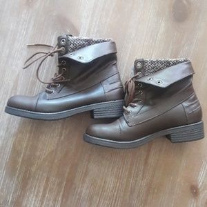 Brown lace up ankle boots